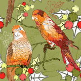 Seamless pattern with pair of budgies, plants and  Royalty Free Stock Image