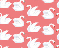 Seamless pattern with a pair of lovers swans Stock Photos