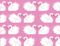 Seamless pattern with a pair of lovers swans and watercolor splashes Royalty Free Stock Photos