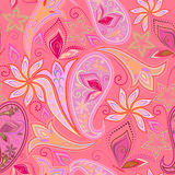 Seamless pink  eastern pattern with paisley and butterflies.Vector background. Royalty Free Stock Image