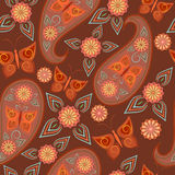 Seamless vintage pattern with paisley and butterflies.Vector background. Stock Photos