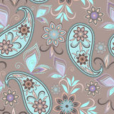 Seamless pattern with paisley and butterflies. Royalty Free Stock Image