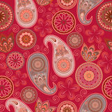 Seamless pattern with paisley and circles. Royalty Free Stock Photo