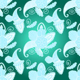 Seamless pattern with paisley on dark-blue background Royalty Free Stock Images