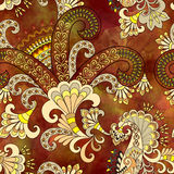 Seamless pattern with paisley on a dark terracotta watercolor ba Royalty Free Stock Photos