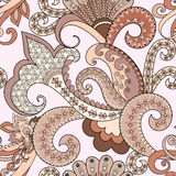 Seamless pattern with paisley, decorative swirls in pastel shade Stock Images