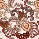 Seamless pattern with paisley  and elements zentagle Stock Photo