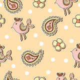Seamless pattern of paisley and fancy bird Stock Photo