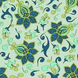 Seamless pattern of paisley floral ornament Stock Photo