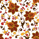 Seamless pattern of paisley floral ornament Royalty Free Stock Photo