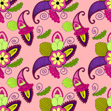 Seamless pattern with paisley and flowers in bright colors Stock Image