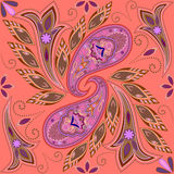 Seamless beautiful pattern with paisley and flowers.Vector background. Bandana print. Stock Photography