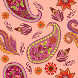 Seamless pink eastern pattern with paisley and flowers.Vector background. Royalty Free Stock Image