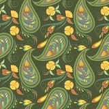 Seamless green vintage pattern with paisley and flowers.Vector background. Stock Photo