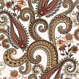 Seamless pattern with paisley, fuchsia flowers and ornamental sw. Irls in brown and beige tones on a light beige background stock illustration
