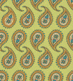 Seamless Pattern with Paisley on a Green Background Royalty Free Stock Photo
