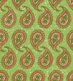 Seamless Pattern with Paisley on a Green Background Stock Images