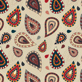Seamless pattern with paisley ornament Stock Images