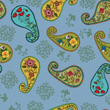 Seamless pattern with paisley. Ornamental background with decorative paisley stock illustration