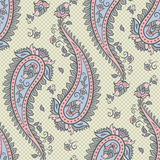 Seamless pattern paisley ornamental background design for fabric in soft pastel colors vector illustration Stock Images