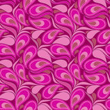Seamless purple pattern with paisley and petals. Vector background. Stock Images