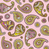 Seamless Pattern with Paisley on a Pink Background Royalty Free Stock Photos