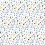 Abstract anemone pattern. Seamless pattern of pale yellow, pink and blue anemone flowers in post-impressionism style vector illustration