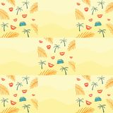 Seamless pattern with palm branch and bus and lips royalty free illustration