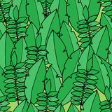 Seamless pattern with palm leafs in cartoon style Stock Photo