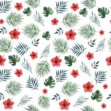Seamless pattern with palm leaves, monstera leaves and red hibiscus flowers on a white background . Watercolor illustration. vector illustration