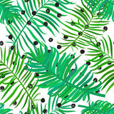 Seamless pattern with palm leaves stock illustration