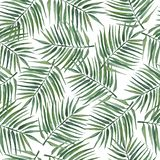 Seamless pattern with palm leaves. Watercolor illustration. stock illustration