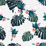 Seamless pattern with palm monstera leaves and tropical hibiscus flowers. Vector illustration on white background Stock Illustration