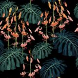 Seamless pattern with palm monstera leaves and tropical lilies flowers. Vector illustration on dark background vector illustration