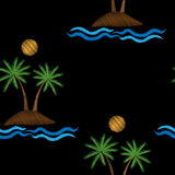Seamless pattern with palm tree with water wave and sun embroide Royalty Free Stock Images
