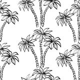Seamless pattern, palm trees contours Royalty Free Stock Photo