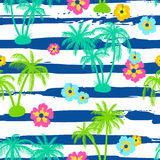 Seamless pattern with palm trees and hibiscus Royalty Free Stock Photo