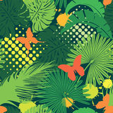 Seamless pattern with palm trees leaves Stock Photography