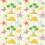 Seamless pattern, palm trees and sea animals Royalty Free Stock Image