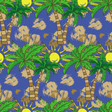 Seamless pattern with palm trees Summer print, repeating background texture Stock Photo