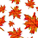 Seamless Pattern Of Palmate Maple Leaves Watercolor. Art Royalty Free Stock Photo