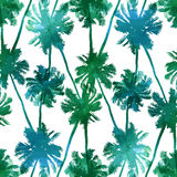 Seamless pattern of palms leaves. Tropical background seamless pattern of imitation of watercolor palms. Botanical  wallpaper Stock Photos