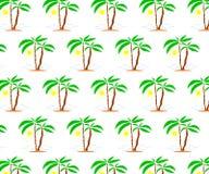 Seamless pattern of palms with sun. stock illustration