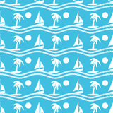 Seamless pattern with palmtrees and boats. Ongoing backgrounds of marine theme. Stock Photography