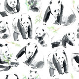 Seamless pattern with panda and bamboo.Postcard with animals. Stock Photos