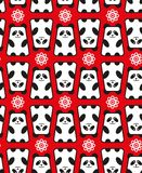 Seamless pattern with panda and flowers. Royalty Free Stock Photography