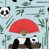 Seamless pattern with panda, Japanese fan and bamboo. Seamless pattern with panda, Japanese fan and bamboo Stock Photography