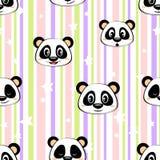 Seamless pattern with panda and stars Stock Photo