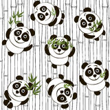Seamless pattern with pandas Stock Photo