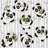 Seamless pattern with pandas Stock Photo